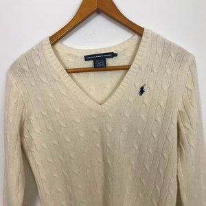 RALPH LAUREN SPORT Cream Wool L Cable Sweater